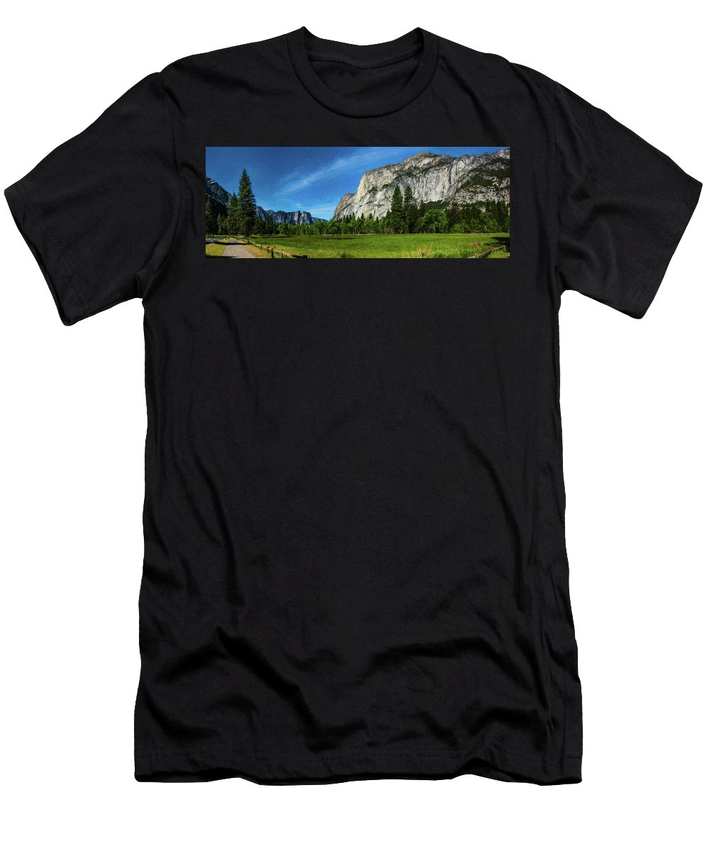 California Men's T-Shirt (Athletic Fit) featuring the digital art Yosemite Valley Meadow Panorama by Randy Herring