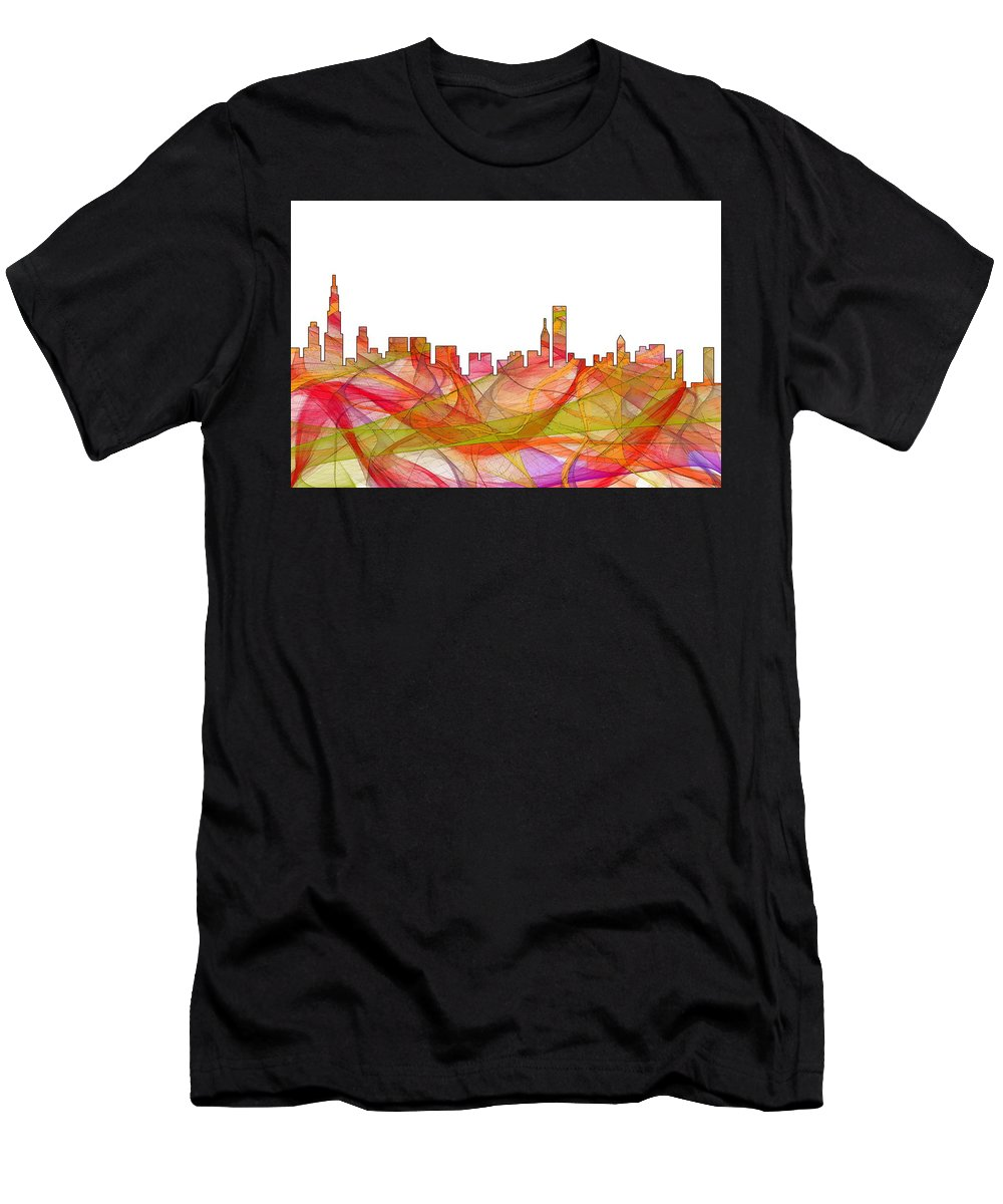 Chicago Illinois Skylineskyline Men's T-Shirt (Athletic Fit) featuring the digital art Chicago Illinois Skyline by Marlene Watson