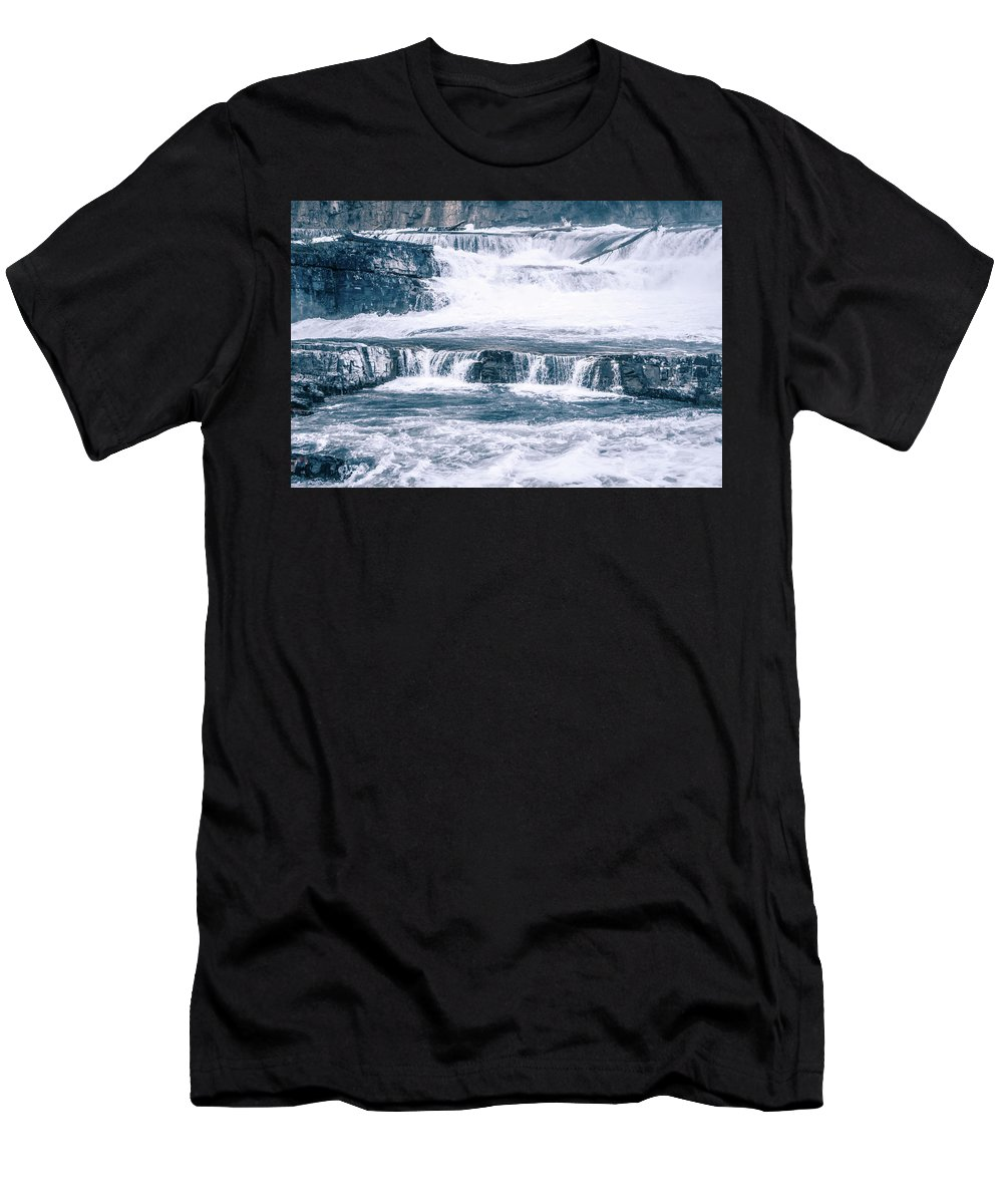 Falls Men's T-Shirt (Athletic Fit) featuring the photograph Kootenai River Water Falls In Montana Mountains by Alex Grichenko