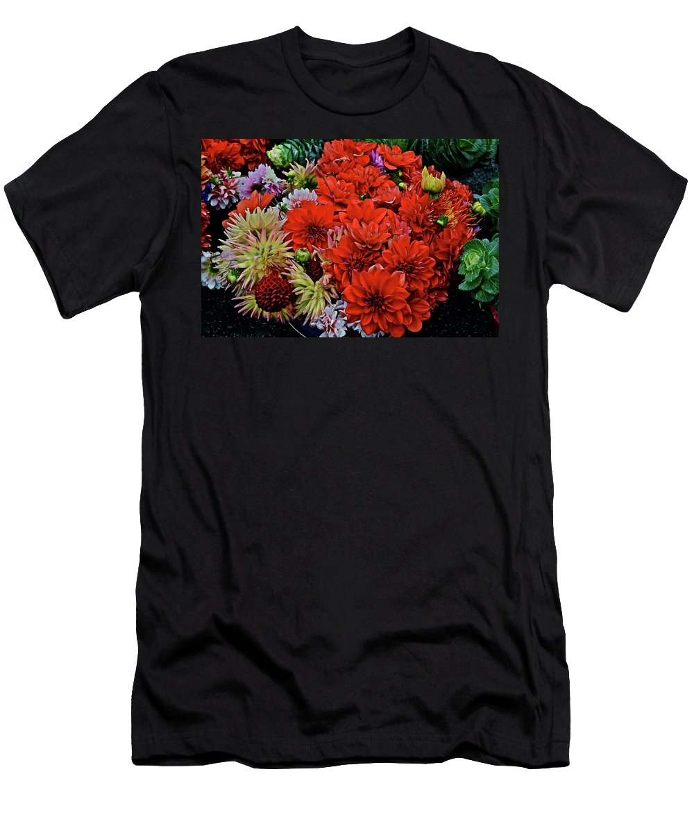 Flowers Men's T-Shirt (Athletic Fit) featuring the photograph 2017 Mid October Monona Farmers' Market Buckets Of Blossoms 1 by Janis Nussbaum Senungetuk