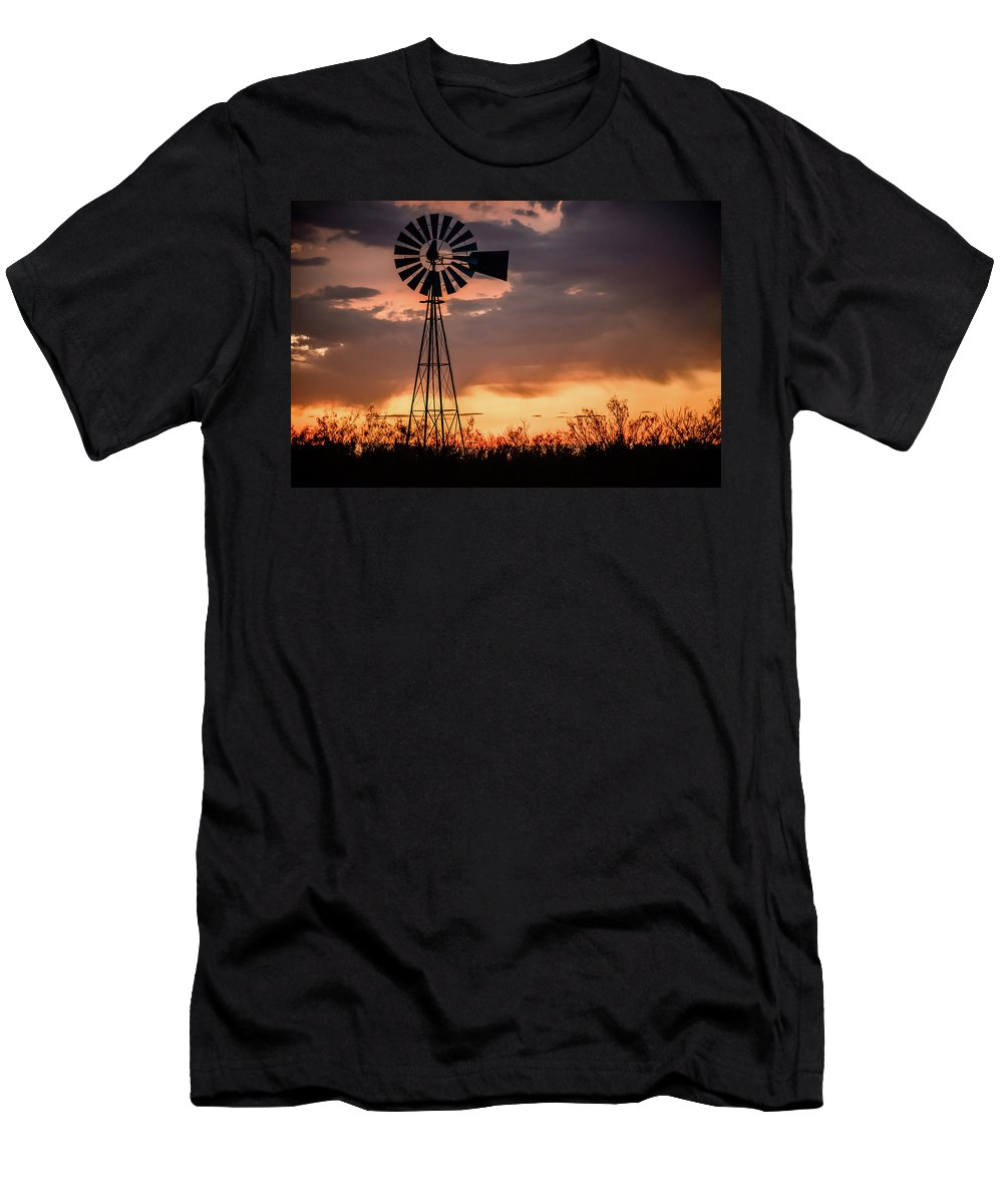 West Texas Men's T-Shirt (Athletic Fit) featuring the photograph 2017_09_midland Tx_windmill 7 by Brian Farmer