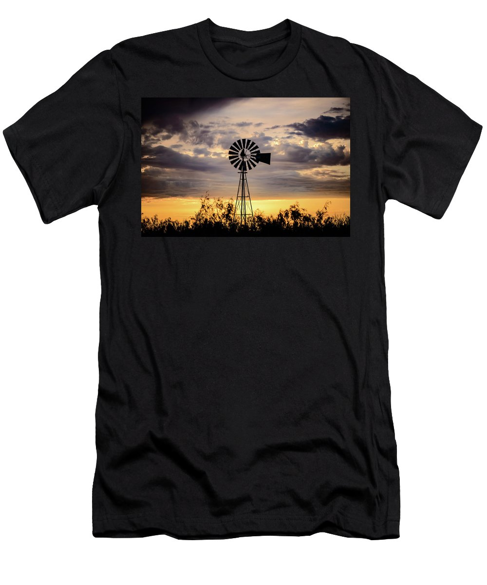 West Texas Men's T-Shirt (Athletic Fit) featuring the photograph 2017_09_midland Tx_windmill 9 by Brian Farmer