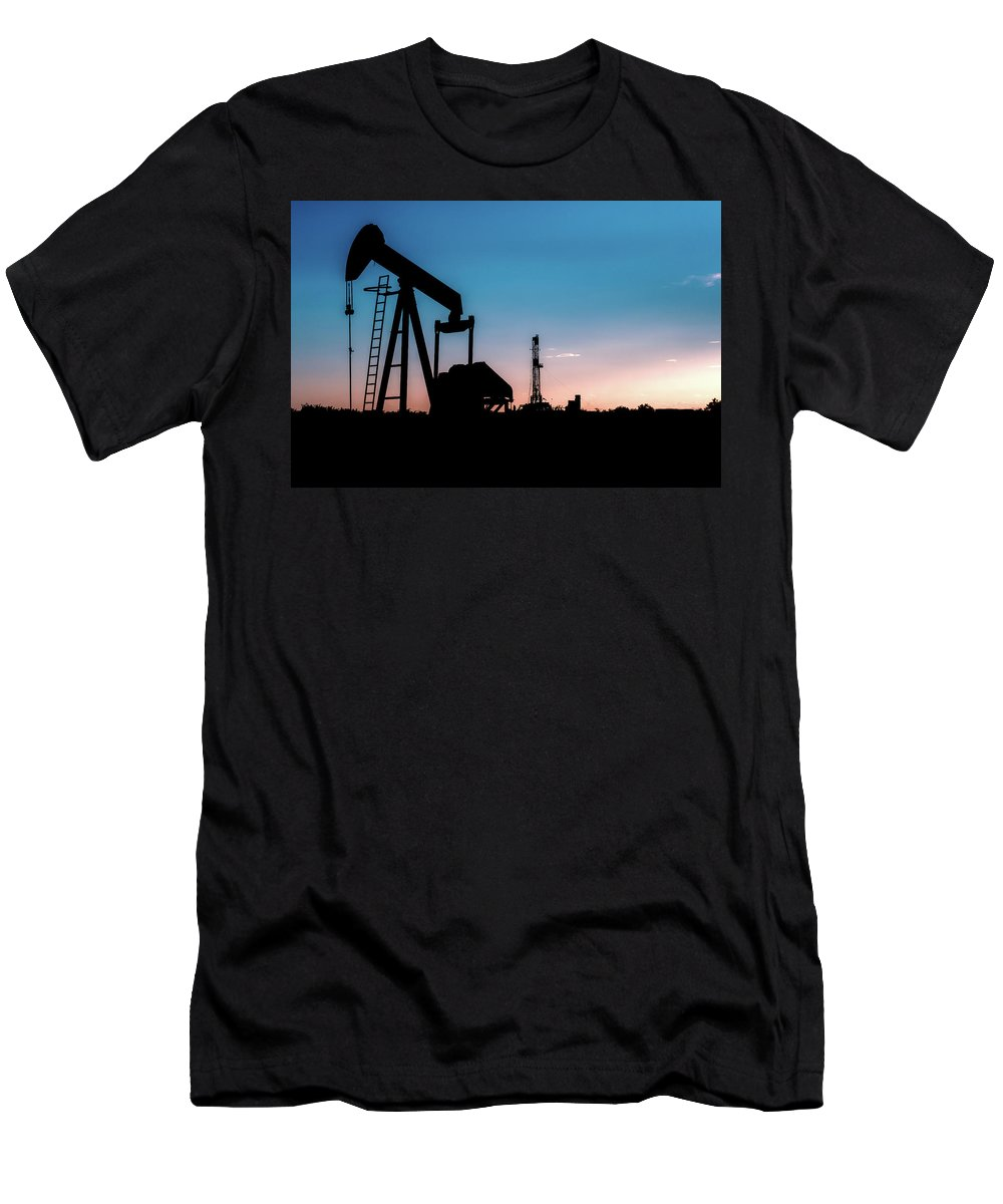 Drillers Club Men's T-Shirt (Athletic Fit) featuring the photograph 2018_08_malaga Nm_cactus 153 Pump Jack 2 by Brian Farmer