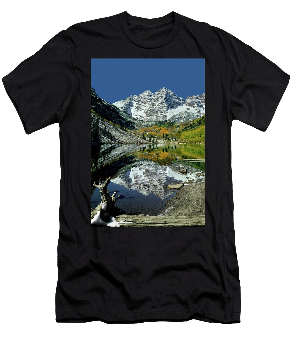 210426 Men's T-Shirt (Athletic Fit) featuring the photograph 210426 Maroon Bells Reflect by Ed Cooper Photography