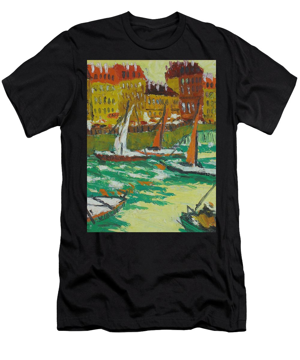 Bay Men's T-Shirt (Athletic Fit) featuring the painting Yachts by Robert Nizamov