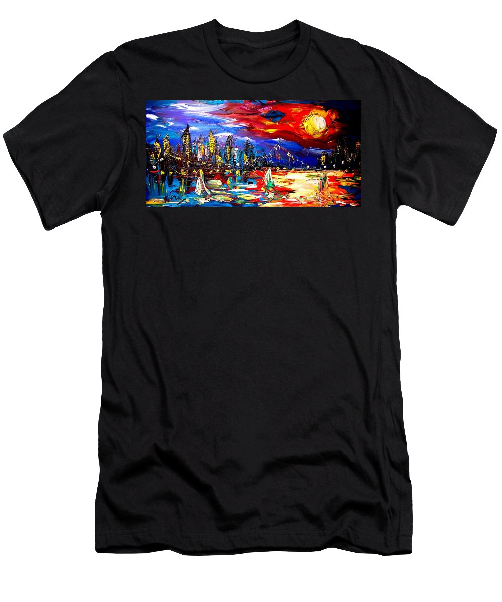 Landscape Framed Prints Men's T-Shirt (Athletic Fit) featuring the painting New York by Mark Kazav