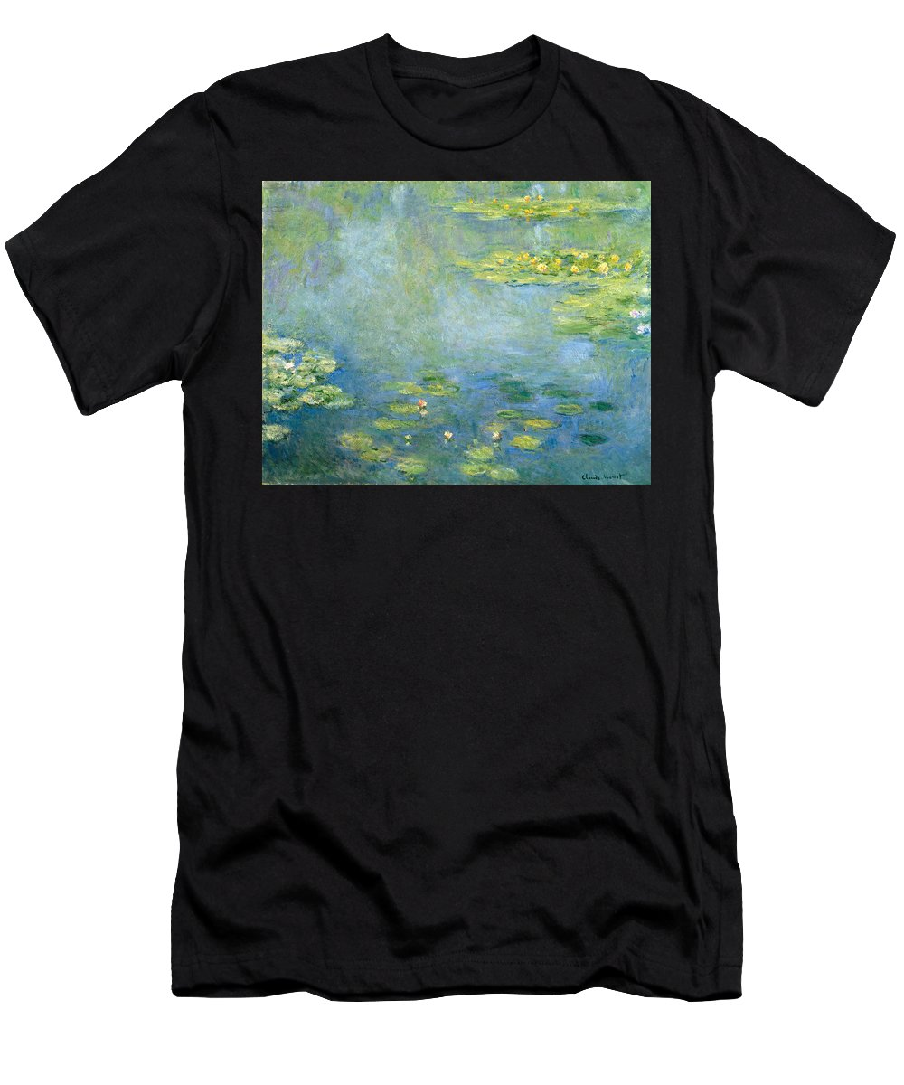 Claude Monet Men's T-Shirt (Athletic Fit) featuring the painting Waterlilies by Claude Monet