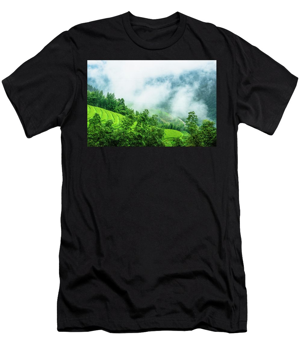 Scenery Men's T-Shirt (Athletic Fit) featuring the photograph Mountain Scenery In Mist by Carl Ning