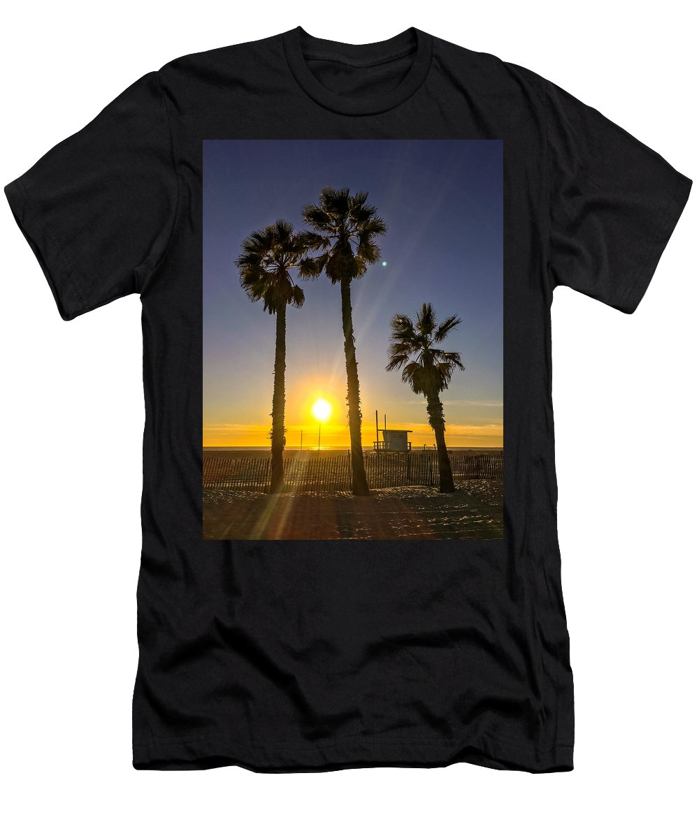 Santa Monica Men's T-Shirt (Athletic Fit) featuring the photograph Sunset In Santa Monica, California, Usa by Anna Bryukhanova