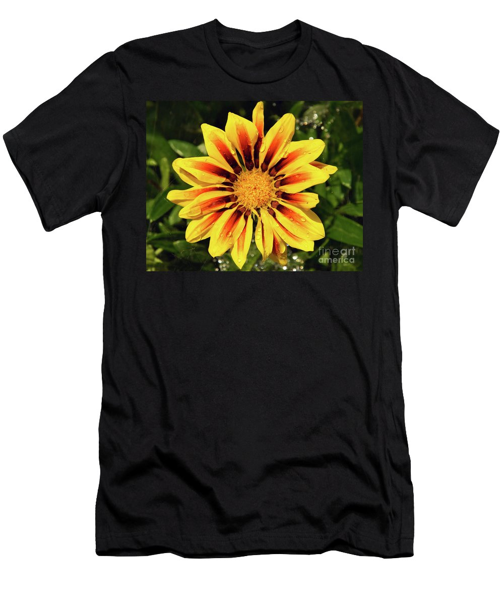 Flowers Men's T-Shirt (Athletic Fit) featuring the photograph Yellow Gazania by Elvira Ladocki