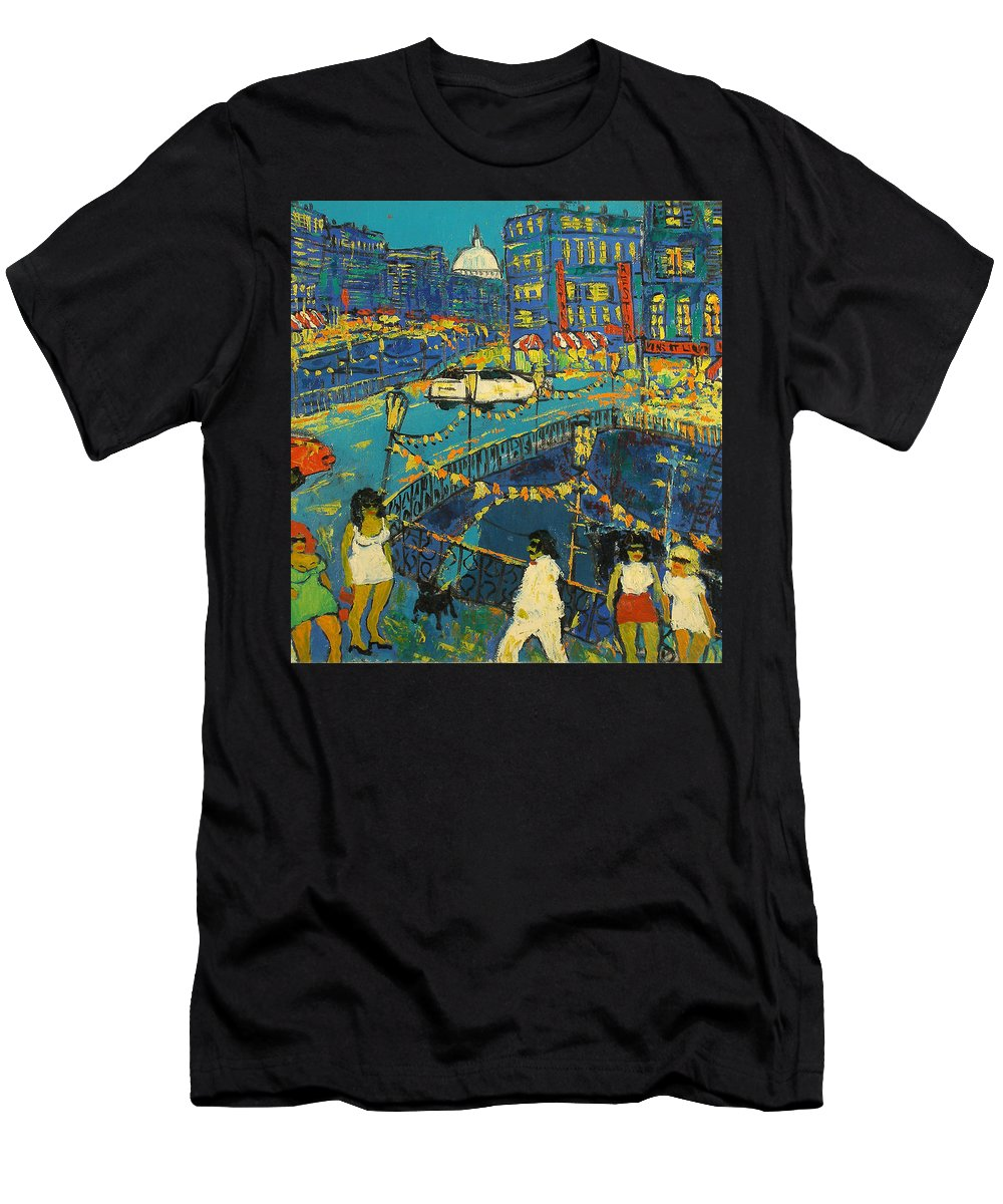 People Men's T-Shirt (Athletic Fit) featuring the painting City by Robert Nizamov