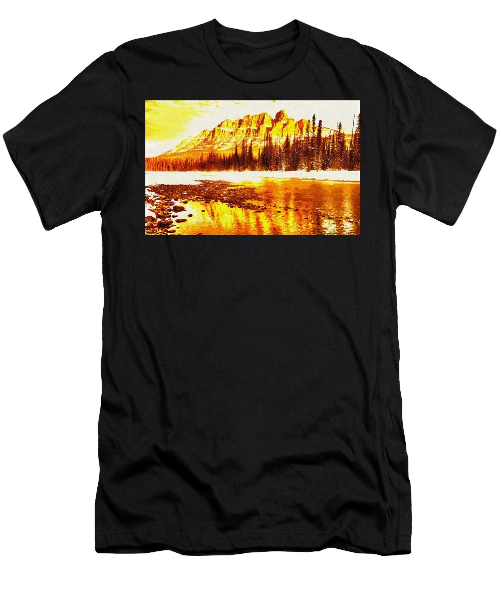 Landscape Men's T-Shirt (Athletic Fit) featuring the digital art Landscape by Lora Battle