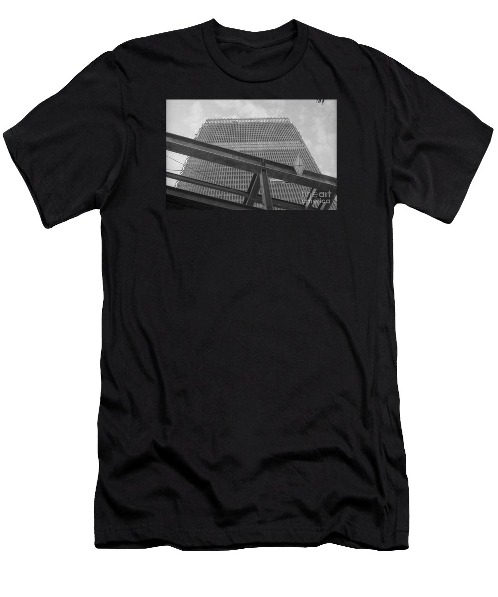 World Trade Center Construction Black And White 1967 Men's T-Shirt (Athletic Fit) featuring the photograph World Trade Center Under Construction 1967 by Bob Bennett