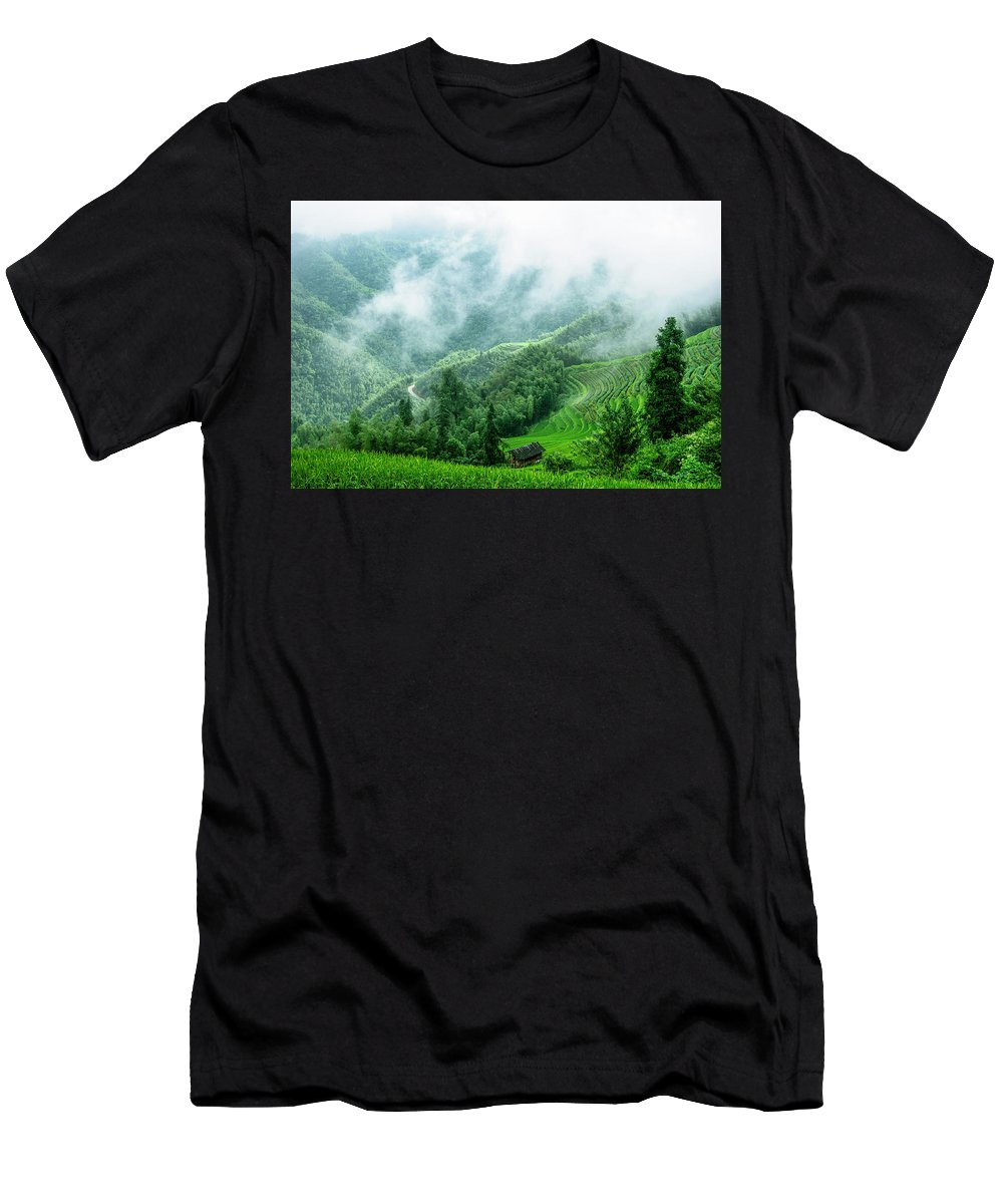 Scenery Men's T-Shirt (Athletic Fit) featuring the photograph Mountain Scenery In The Mist by Carl Ning