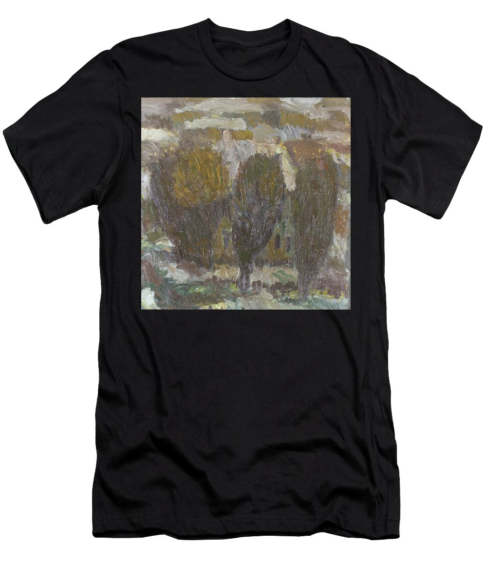 Snow Men's T-Shirt (Athletic Fit) featuring the painting Village by Robert Nizamov