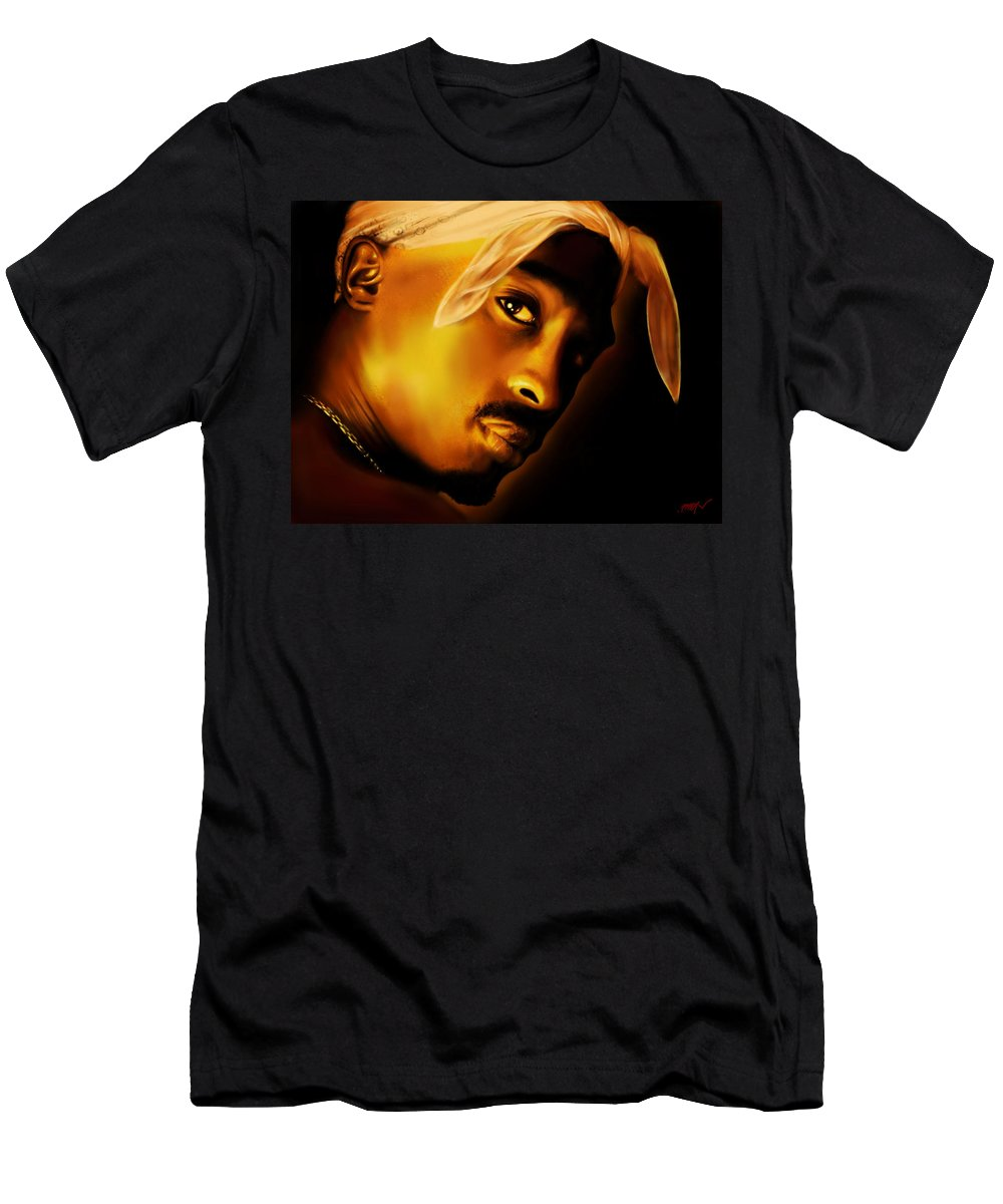Portret Men's T-Shirt (Athletic Fit) featuring the painting 2pac by Faust Vatos