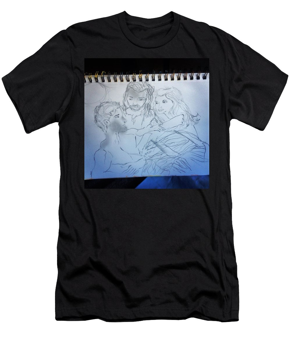 Creation T-Shirt featuring the drawing Adam andEve The Creation Story by Love Art Wonders By God