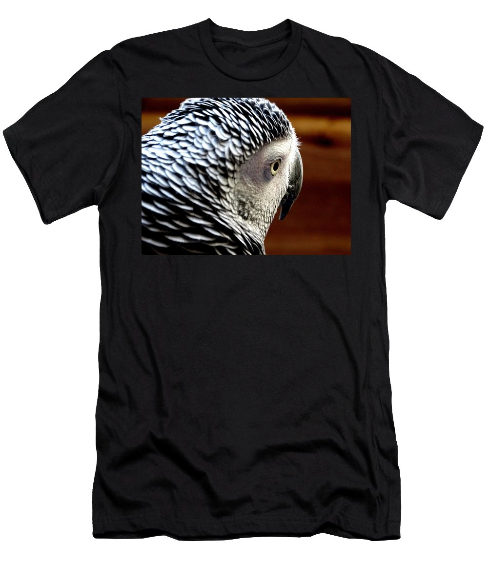 Africa Grey Parrot Men's T-Shirt (Athletic Fit) featuring the photograph African Grey Parrot by Ines Ganteaume