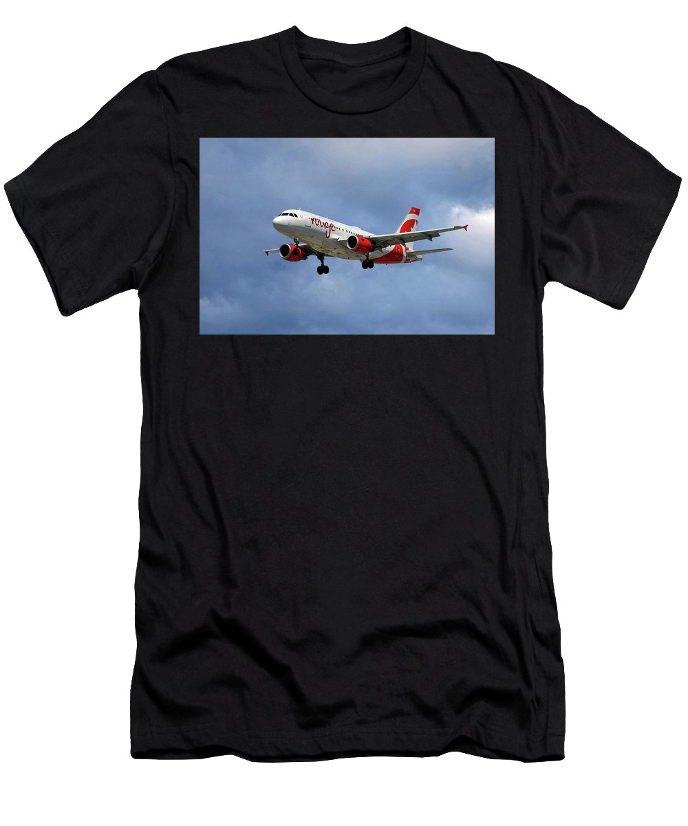 Air Canada Men's T-Shirt (Athletic Fit) featuring the photograph Air Canada Rouge Airbus A319 by Smart Aviation