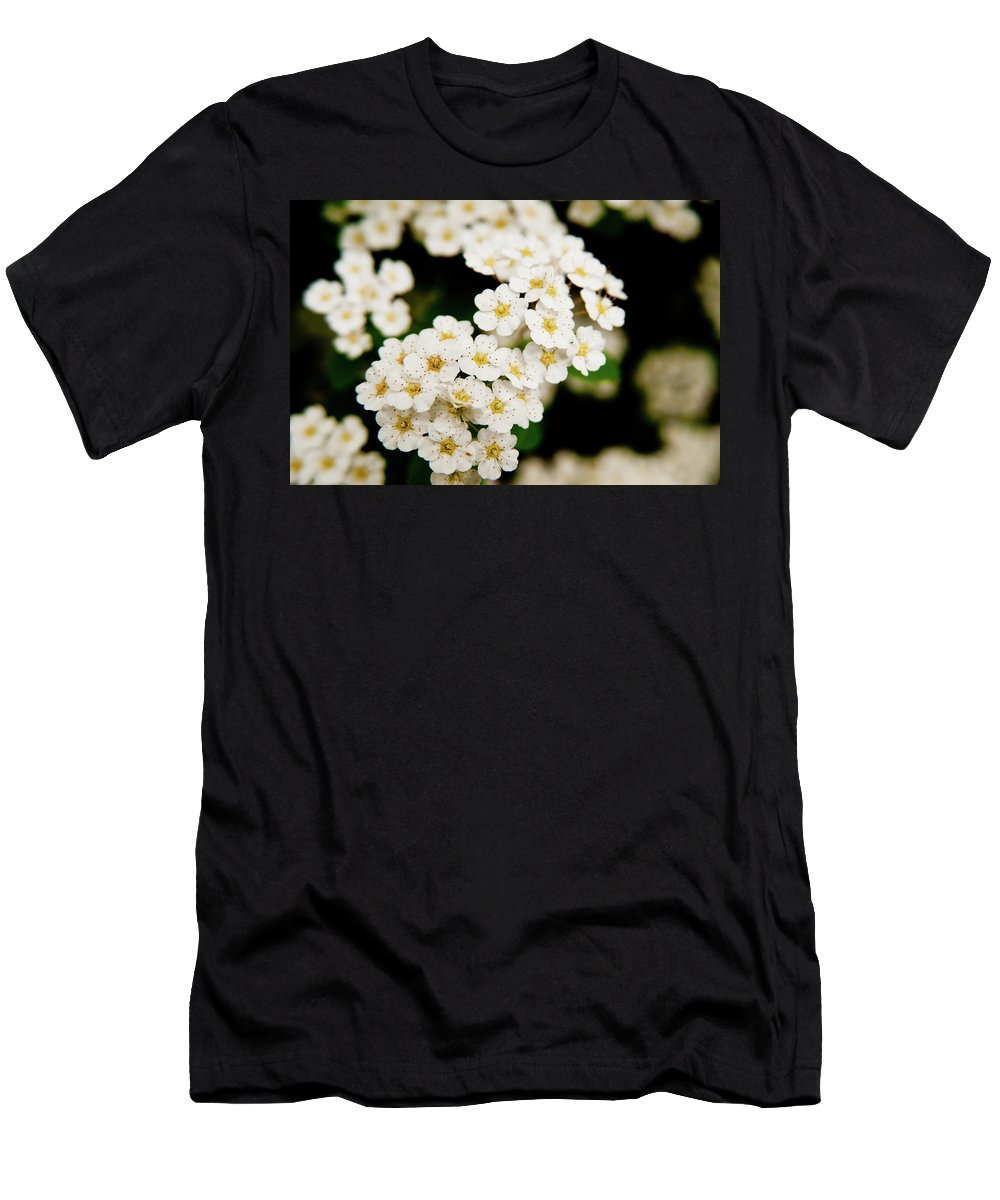 Flowers Men's T-Shirt (Athletic Fit) featuring the photograph Bridal Veil Spirea by Brenda Jacobs