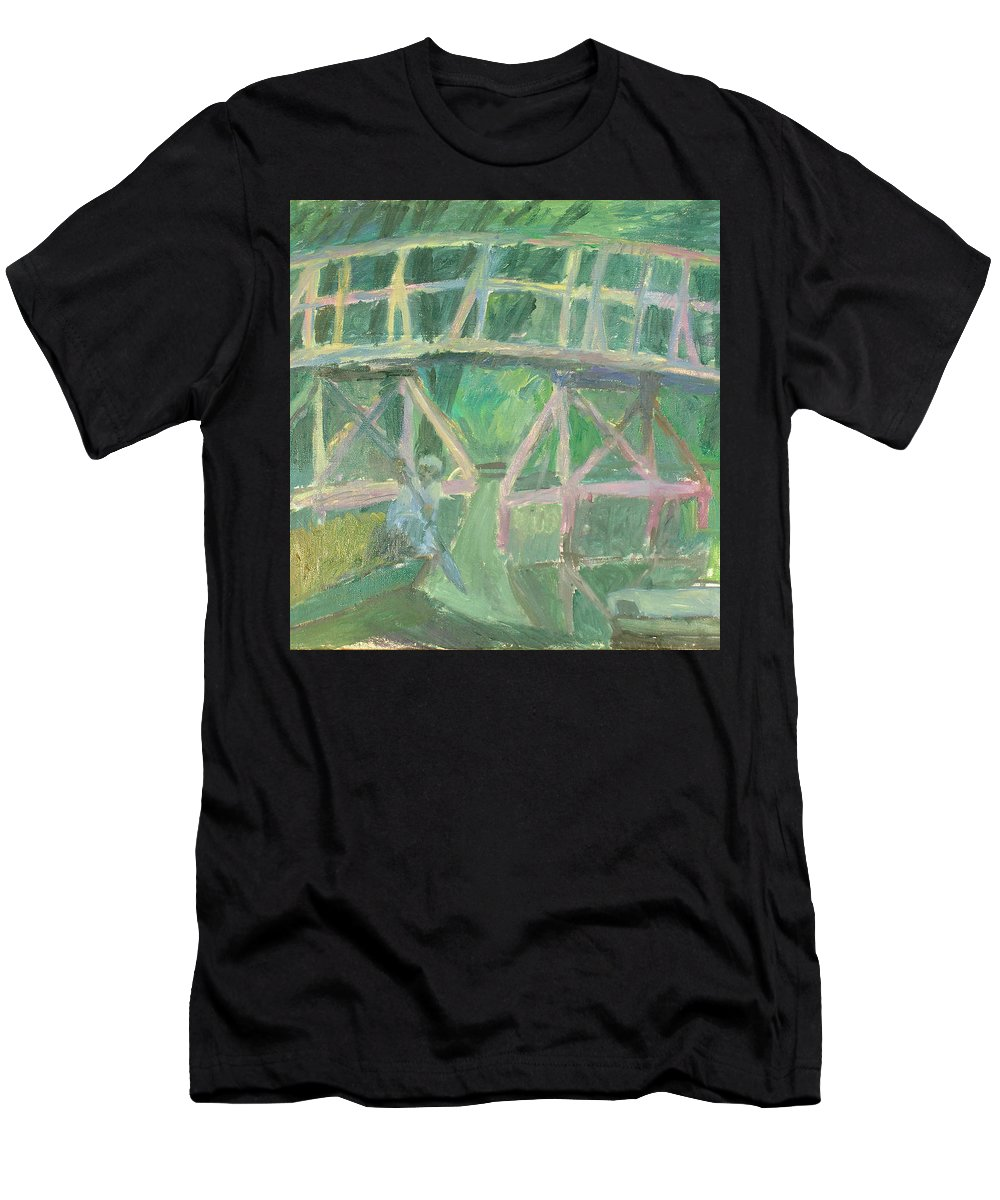 River Men's T-Shirt (Athletic Fit) featuring the painting Bridge by Robert Nizamov