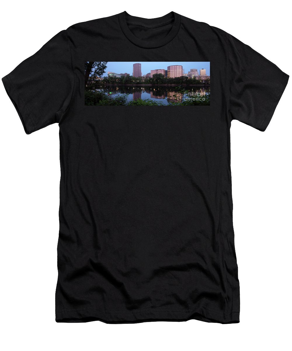 Waterway Men's T-Shirt (Athletic Fit) featuring the photograph Hartford Skyline Panorama by Bill Cobb