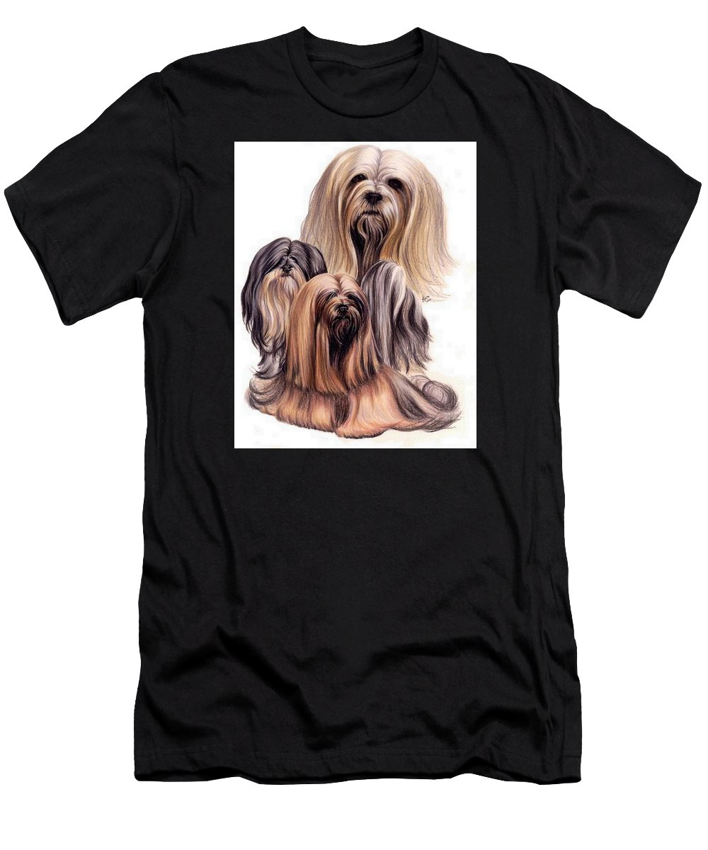 Purebred Men's T-Shirt (Athletic Fit) featuring the drawing Lhasa Apso Triple by Barbara Keith