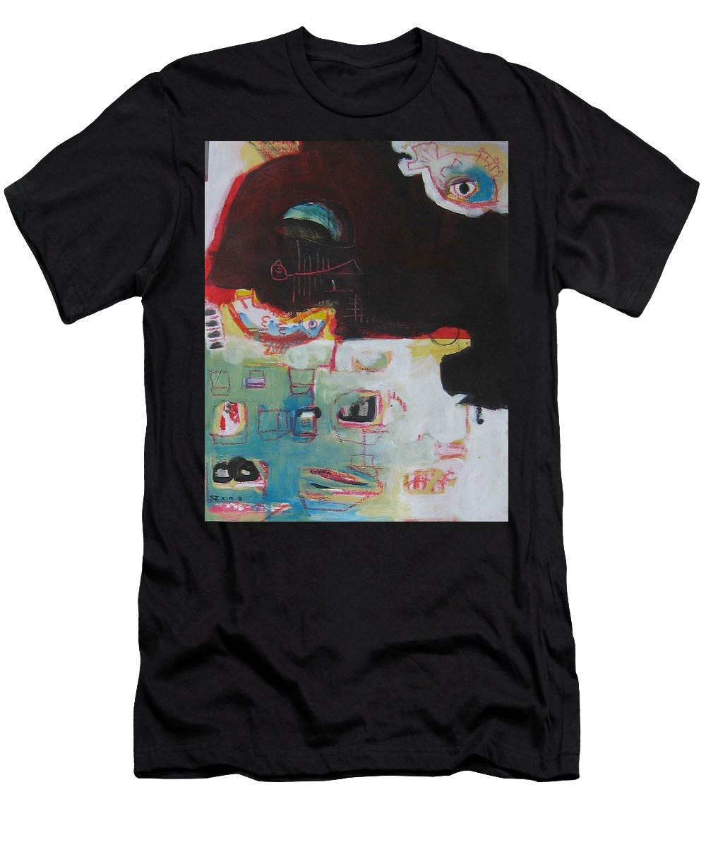 Abstract Paintings Men's T-Shirt (Athletic Fit) featuring the painting Little Bay by Seon-Jeong Kim