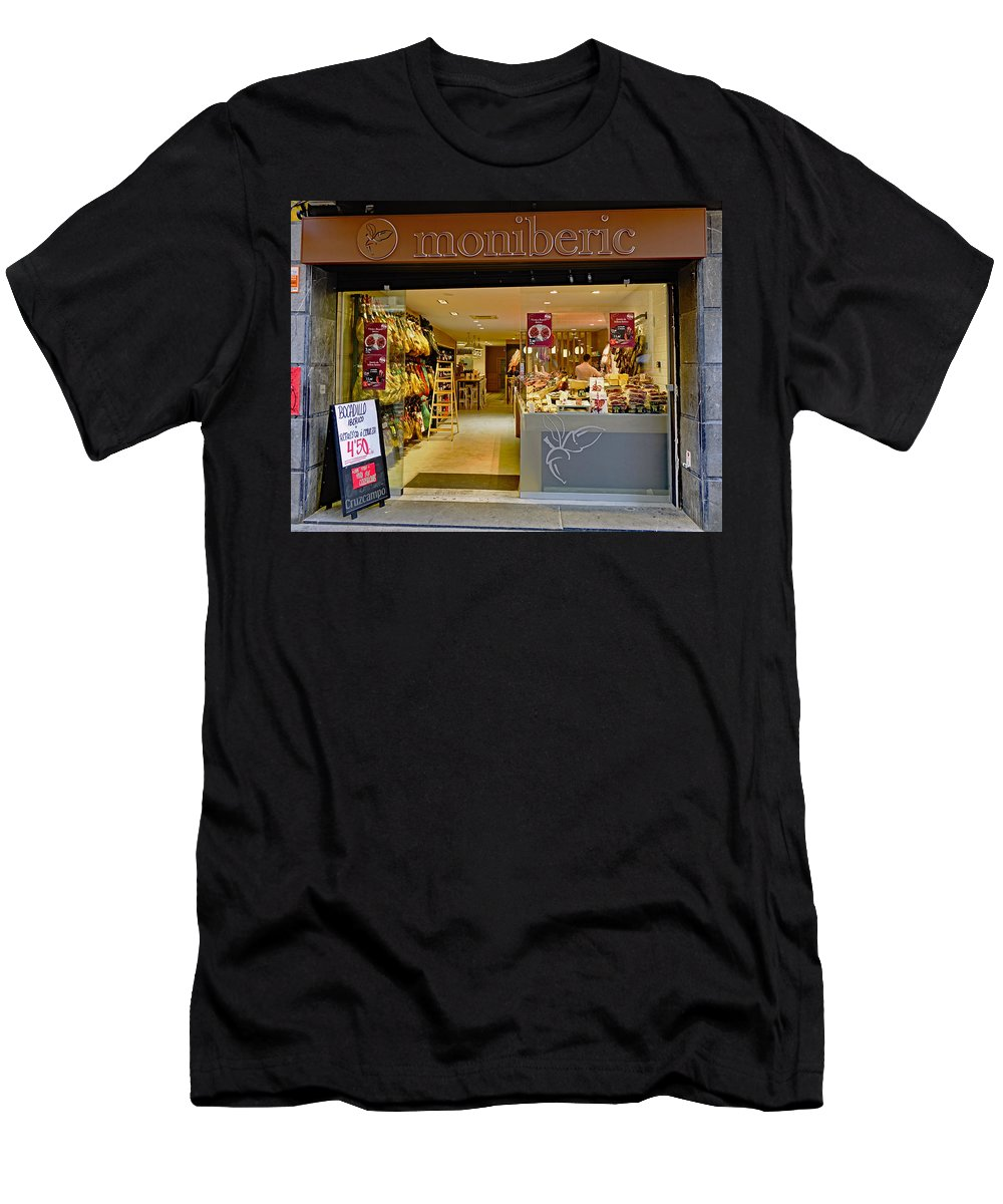 Meat Market Men's T-Shirt (Athletic Fit) featuring the photograph Meat Market In Palma Majorca Spain by Richard Rosenshein