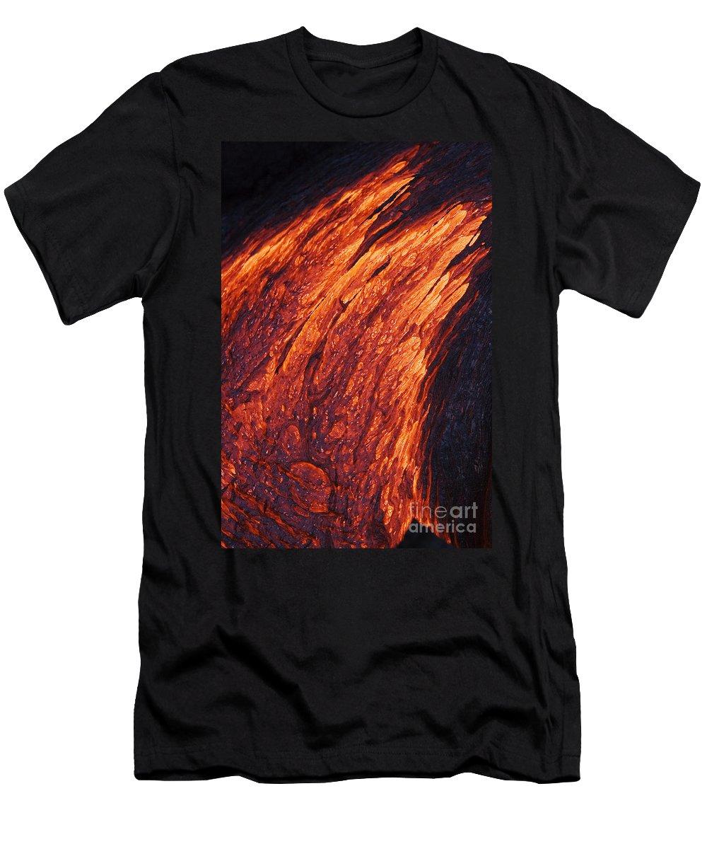 Active Men's T-Shirt (Athletic Fit) featuring the photograph Molten Pahoehoe Lava by Ron Dahlquist - Printscapes