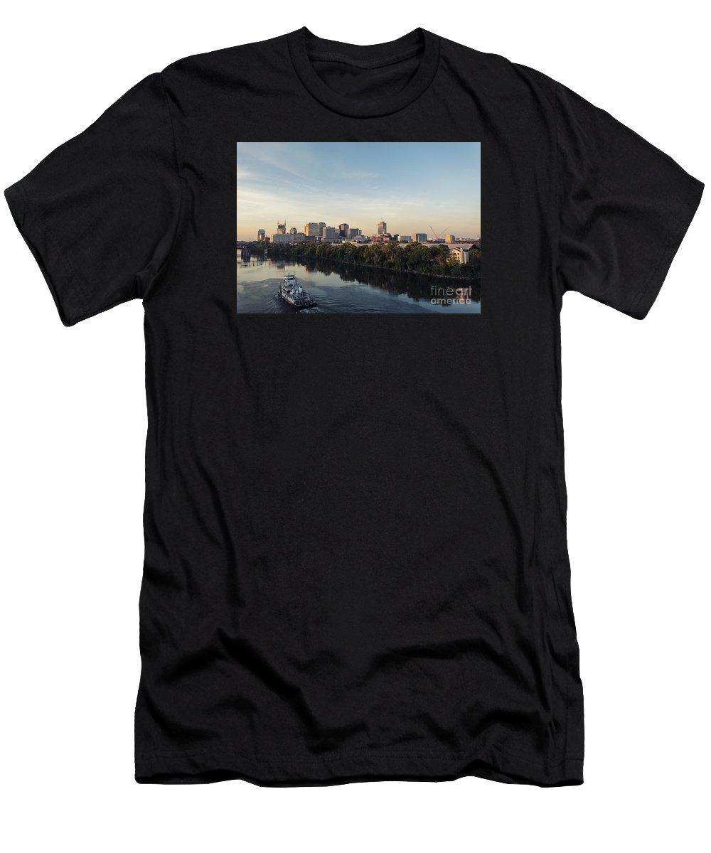 Nashville Skyline Men's T-Shirt (Athletic Fit) featuring the photograph Nashville Tennessee Skyline Sunrise by Jeremy Holmes