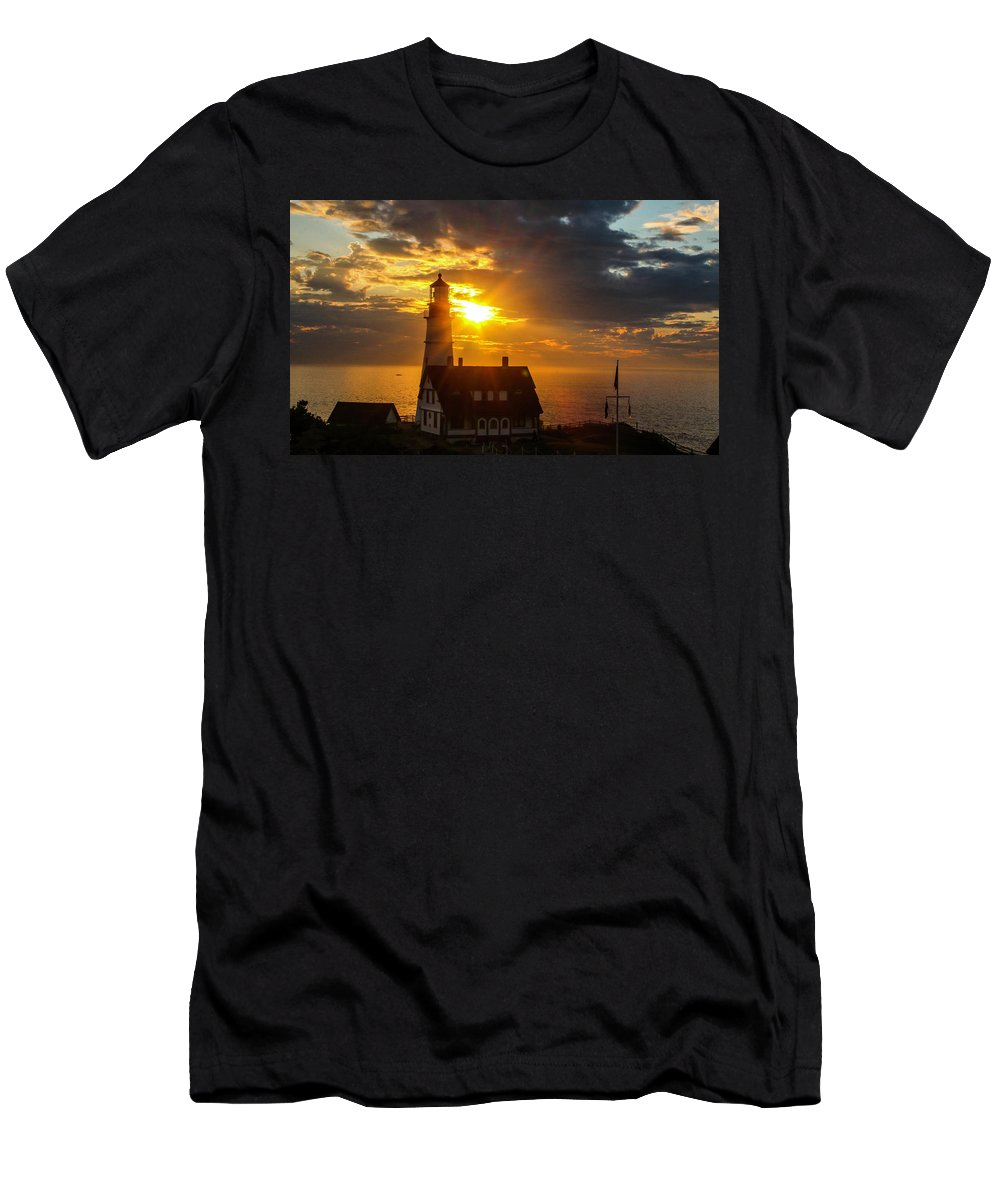 This Is A Sunrise Photo Of The Portland Head Light In Cape Elizabeth Maine Men's T-Shirt (Athletic Fit) featuring the photograph Portland Head Light by William Rogers