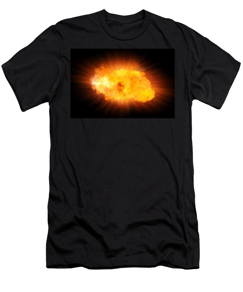 Fire Men's T-Shirt (Athletic Fit) featuring the photograph Realistic Fire Explosion, Orange Blast With Sparks Isolated On Black Background by Lukasz Szczepanski