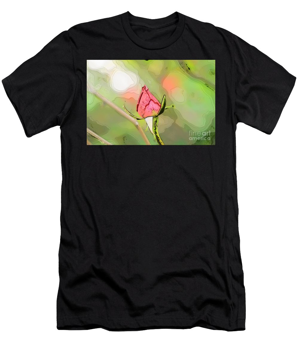 Water Men's T-Shirt (Athletic Fit) featuring the photograph Red Garden Rose Bud by Humorous Quotes