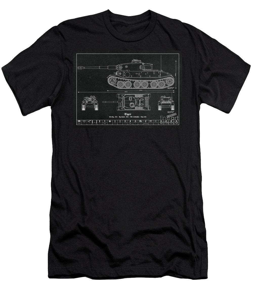Sd kfz 181 panzerkampfwagen vi tiger vk 4501 typ 101 t panzer of the german wehrmacht blueprint mens t shirt athletic fit featuring malvernweather Choice Image