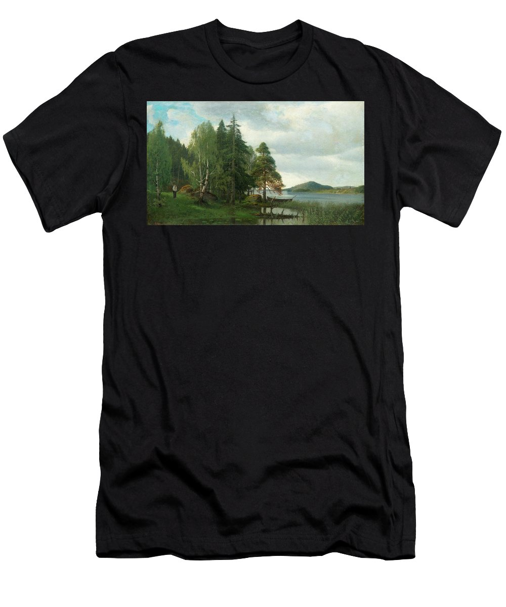 Fridolf Weurlander Men's T-Shirt (Athletic Fit) featuring the painting Summer Landscape by MotionAge Designs