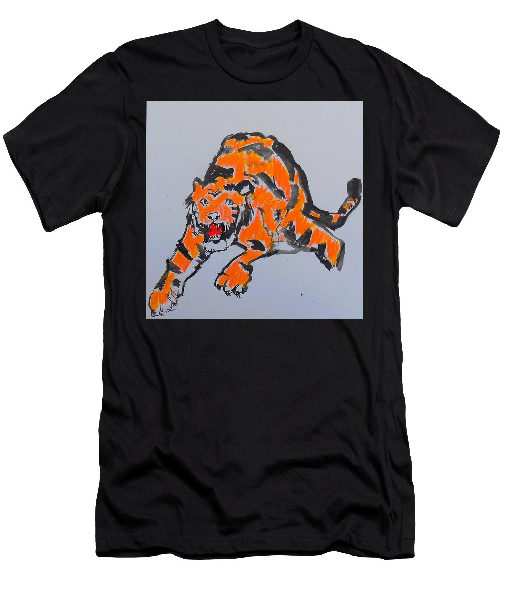 Tigers Men's T-Shirt (Athletic Fit) featuring the pastel Tiger by Samuel Zylstra