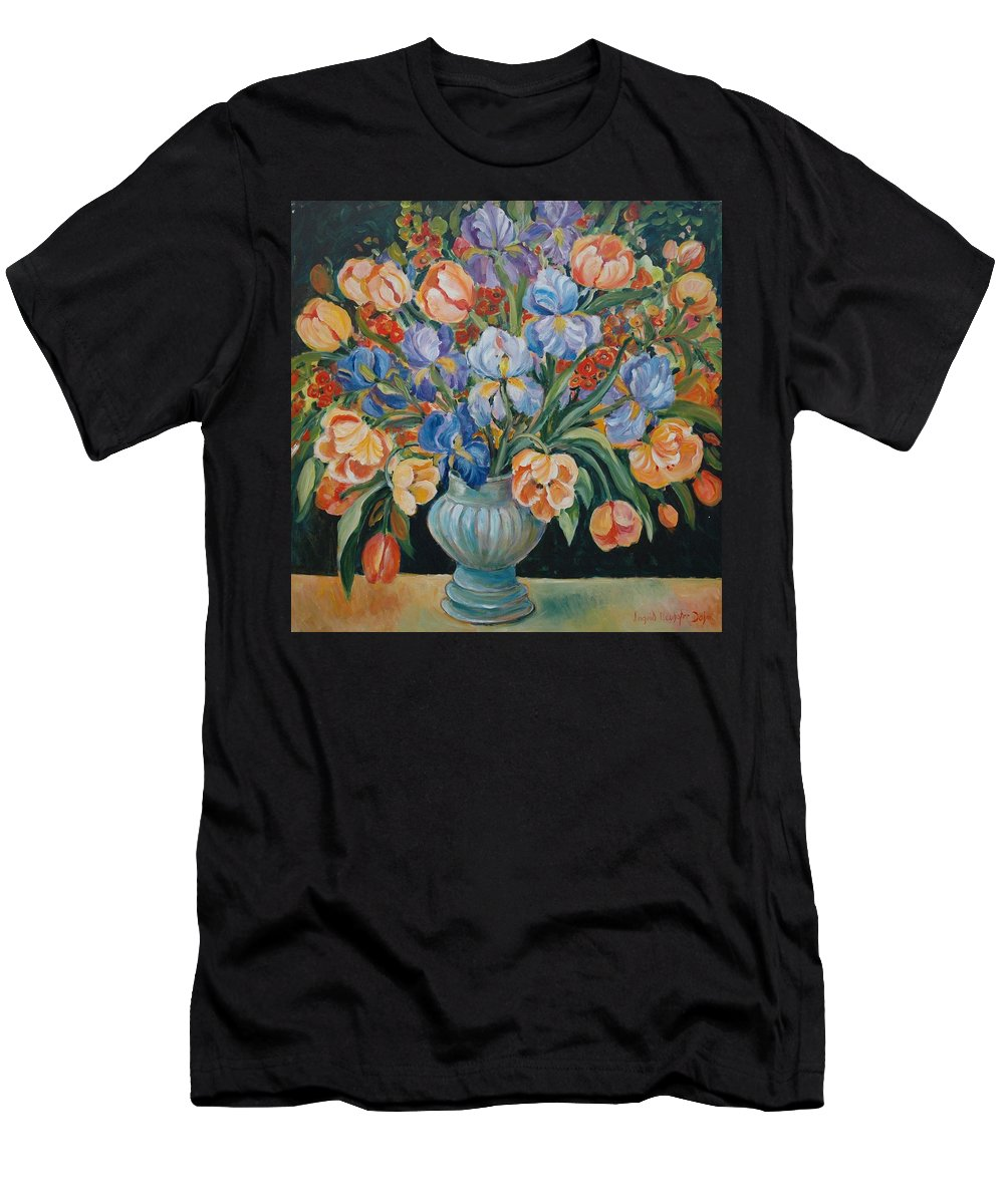 Still Life Men's T-Shirt (Athletic Fit) featuring the painting Tulips by Alexandra Maria Ethlyn Cheshire