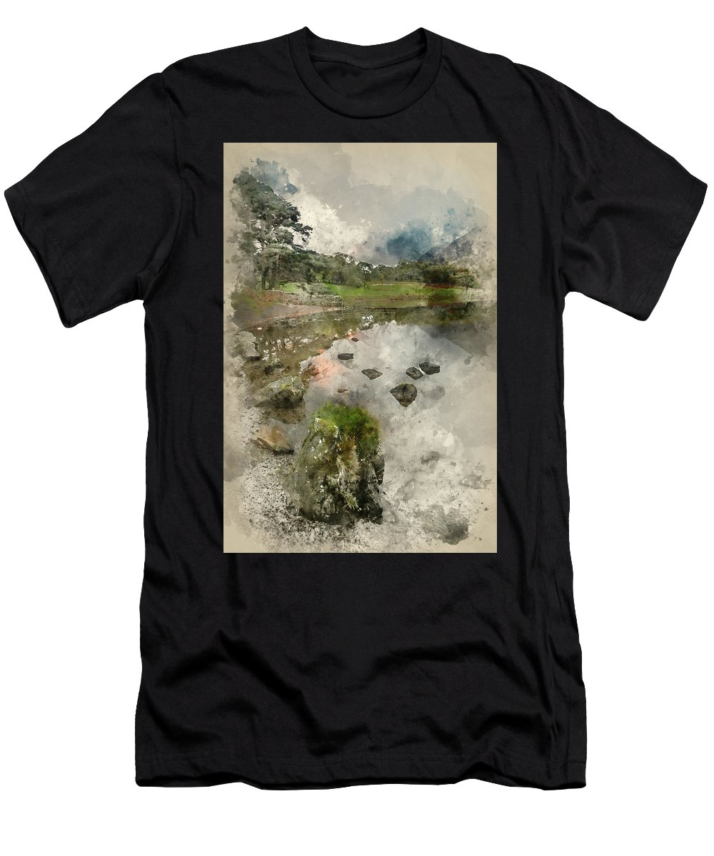 Landscape Men's T-Shirt (Athletic Fit) featuring the photograph Watercolor Painting Of Beautiful Autumn Fall Landscape Image Of by Matthew Gibson