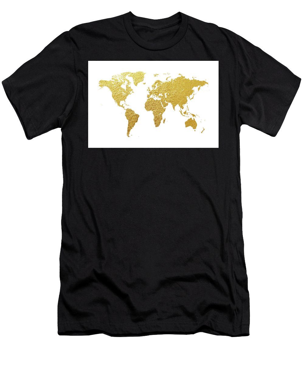 World Map Men's T-Shirt (Athletic Fit) featuring the digital art World Map Gold Foil by Michael Tompsett