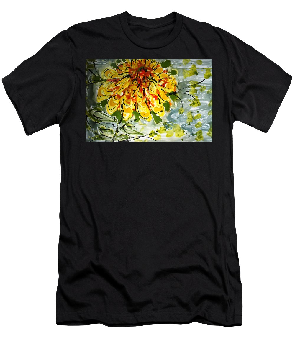 Flowers Men's T-Shirt (Athletic Fit) featuring the painting Divine Blooms by Baljit Chadha
