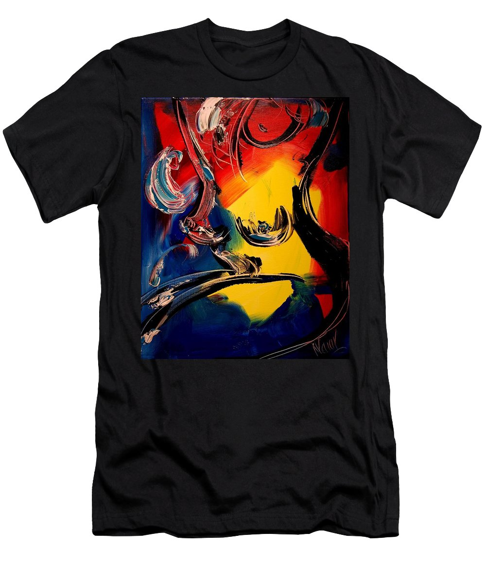 Landscape Framed Prints Men's T-Shirt (Athletic Fit) featuring the painting Nude by Mark Kazav