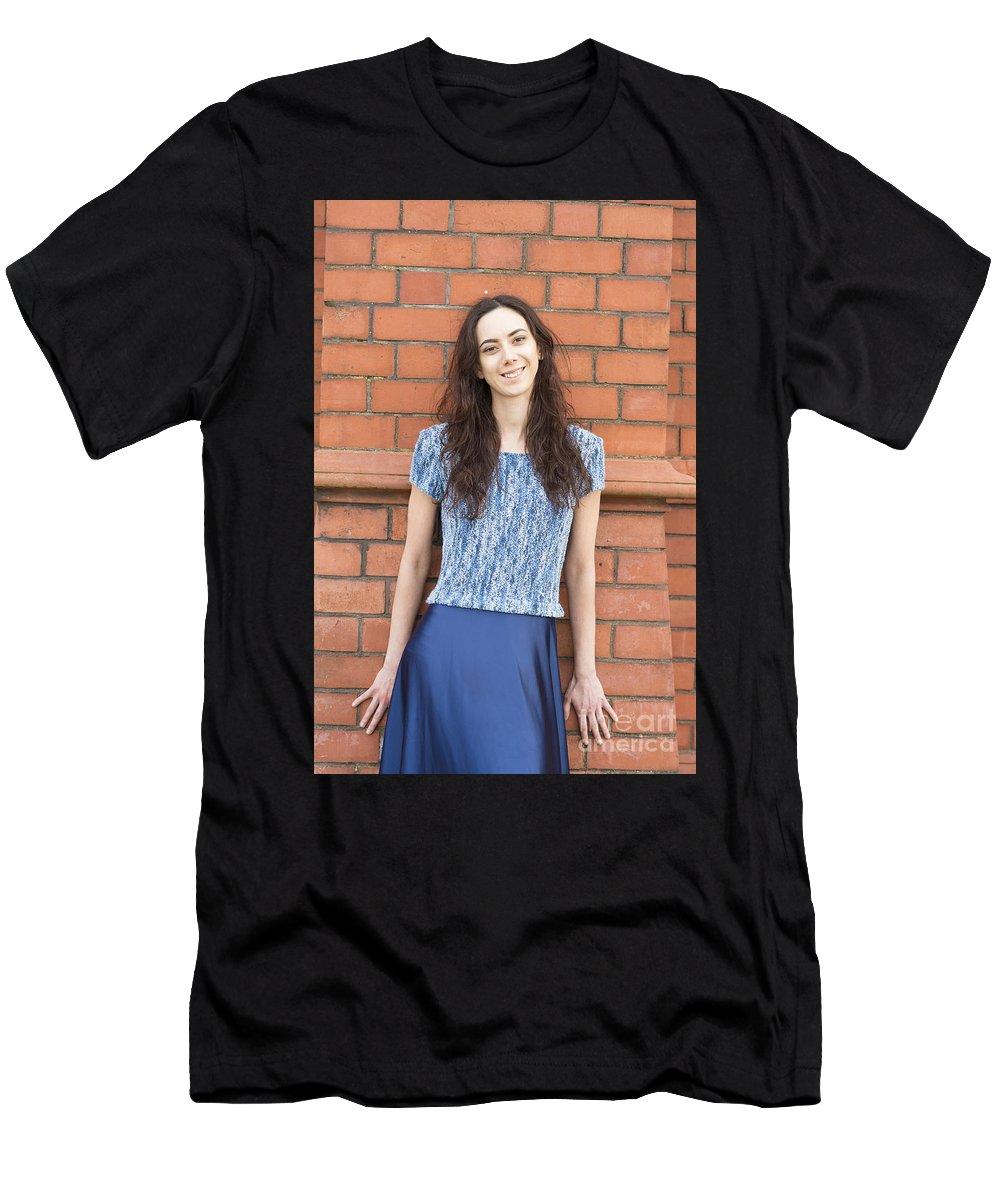 Model Lauren Ismail For Revetir Photographed By Jenny Potte Men's T-Shirt (Athletic Fit) featuring the photograph Fashion Shoot by Jenny Potter