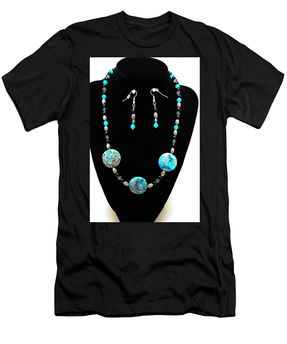 Jewelry T-Shirt featuring the jewelry 3517 Crazy Lace Agate Set by Teresa Mucha