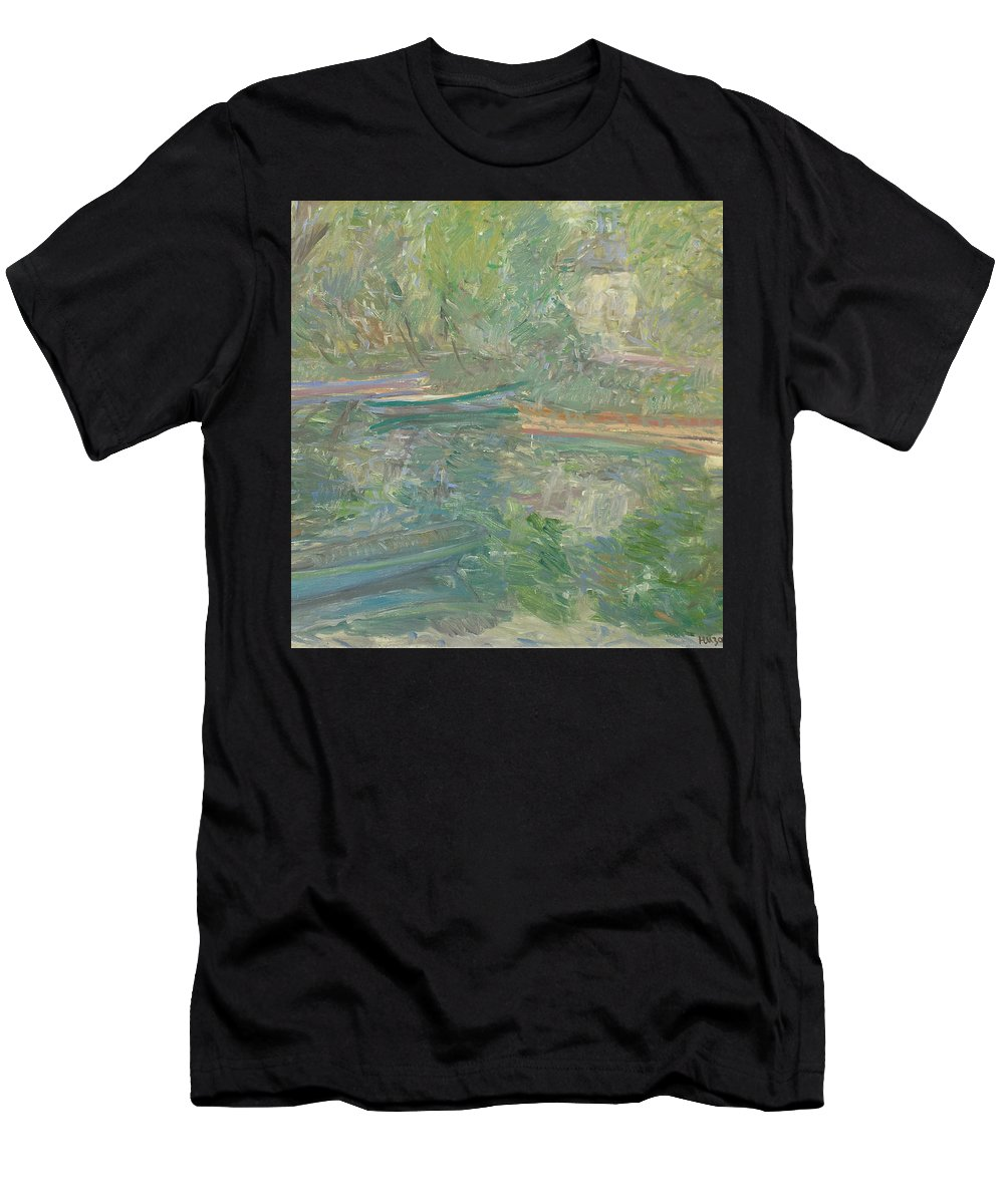 Bay Men's T-Shirt (Athletic Fit) featuring the painting River by Robert Nizamov