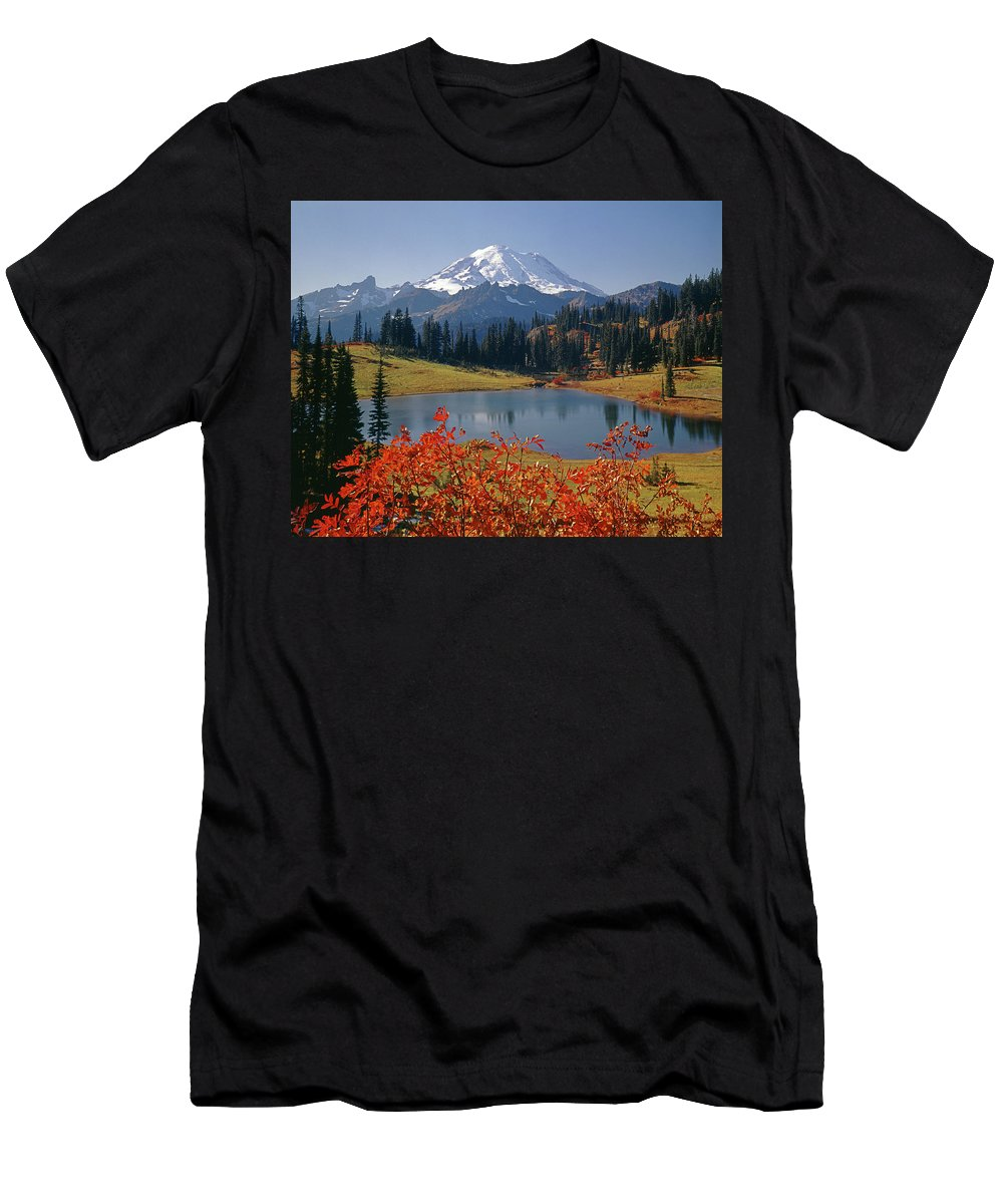 Tipsoo Lake Men's T-Shirt (Athletic Fit) featuring the photograph 3m4824 Tipsoo Lake And Mt. Rainier H by Ed Cooper Photography