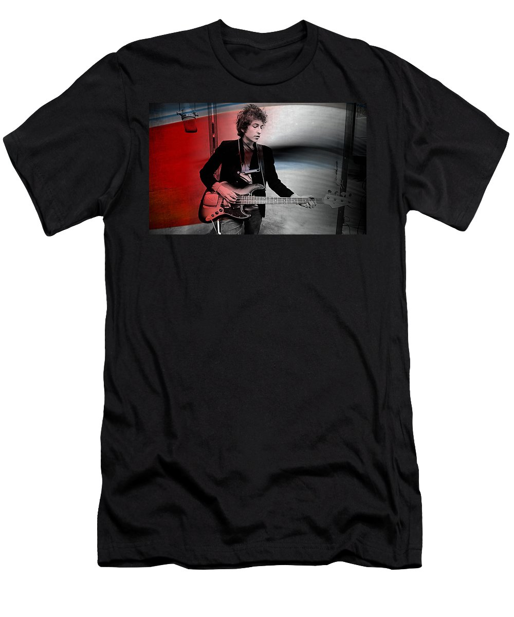 Bob Dylan Paintings Men's T-Shirt (Athletic Fit) featuring the mixed media Bob Dylan by Marvin Blaine