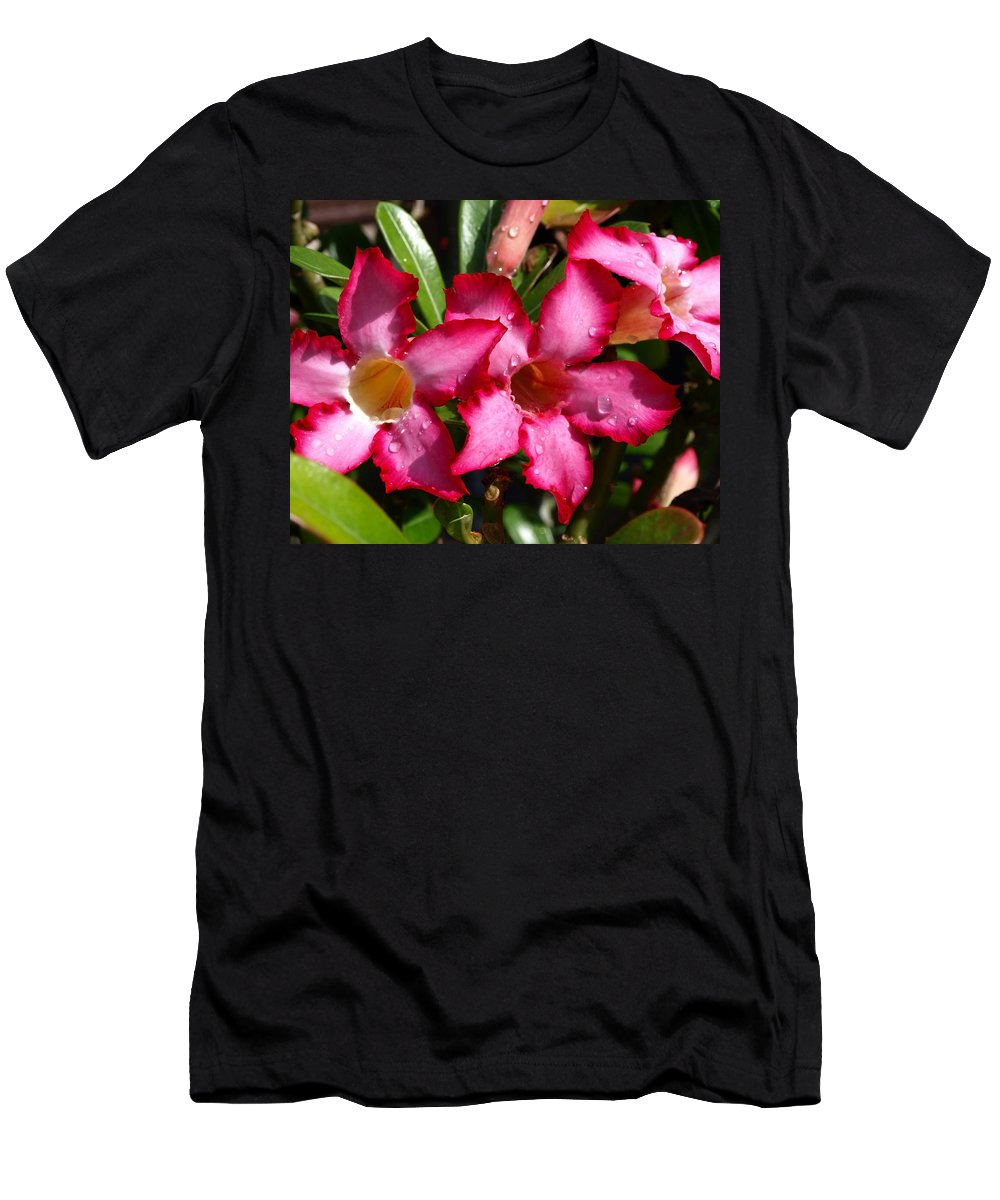 Desert Rose; Desert; Rose; Red; Pink; Flower; Bush; Garden; Florida; Plant; Adenium; Obesum; Africa; Men's T-Shirt (Athletic Fit) featuring the photograph Desert Rose by Allan Hughes