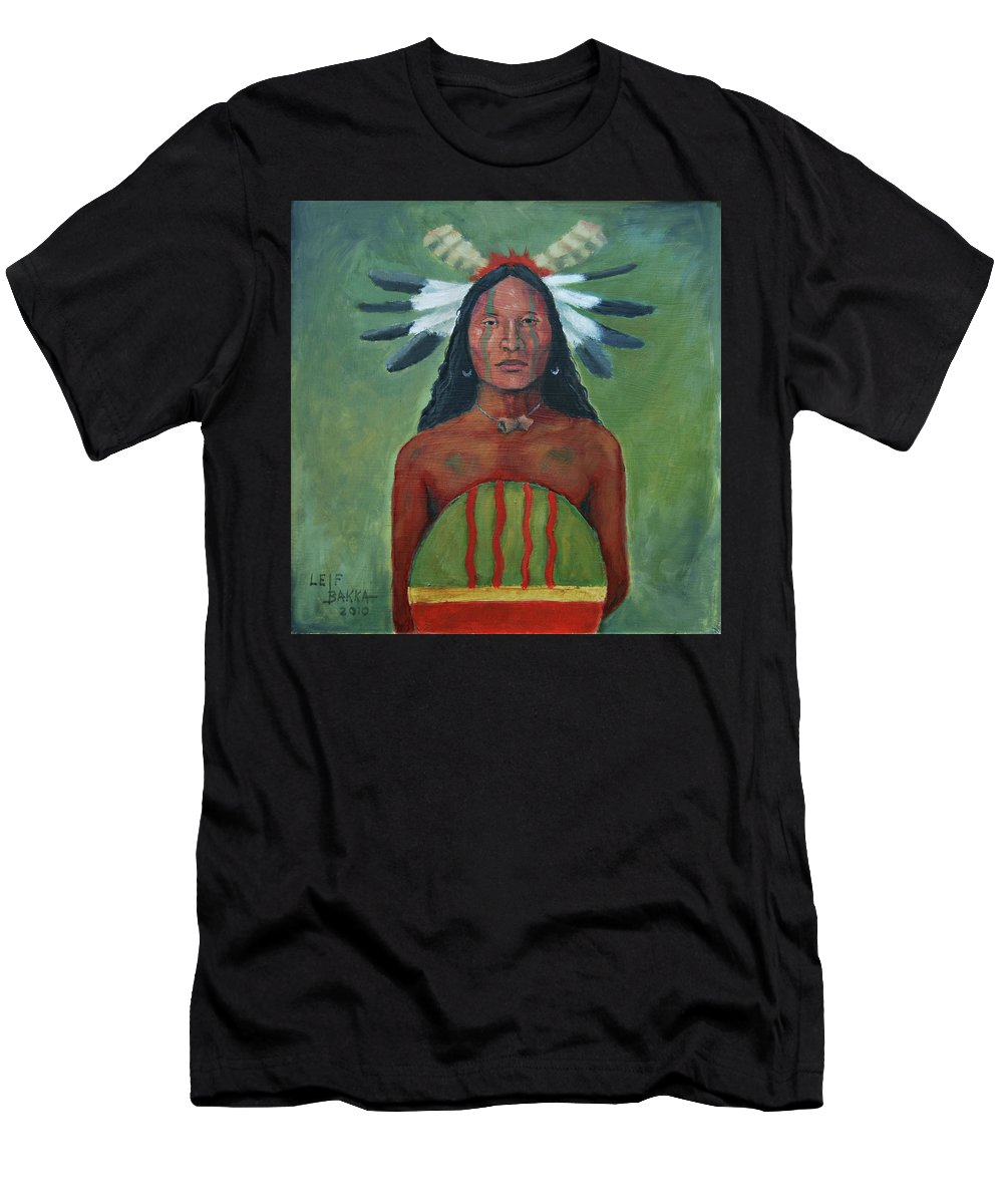 Oil Painting Men's T-Shirt (Athletic Fit) featuring the painting 4 Directions by Leif Bakka