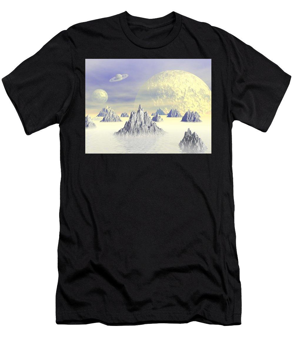 Alien Men's T-Shirt (Athletic Fit) featuring the digital art Fantasy Landscape by Elenarts - Elena Duvernay Digital Art